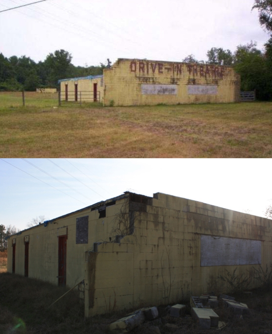 Top image courtesy Drive-In Theatres of the Mid-Atlantic, 1998. Bottom image courtesy me, 2012.