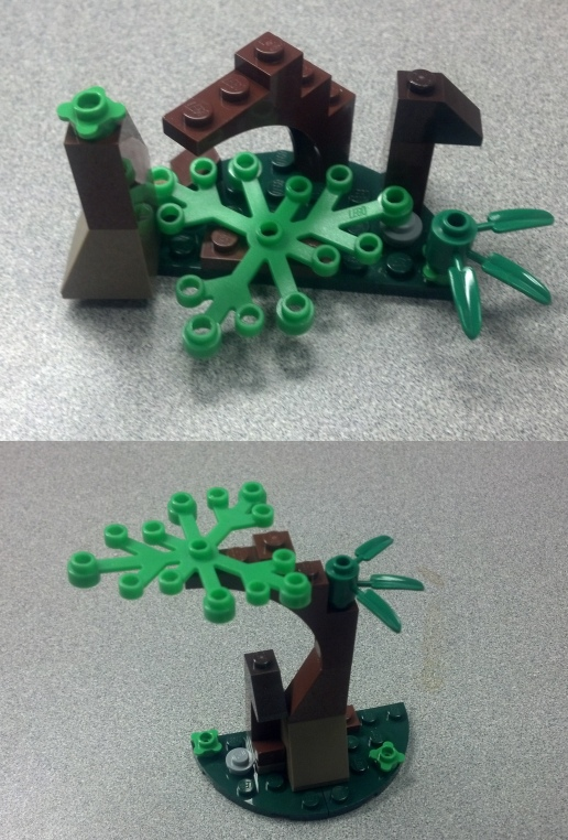 "Top vs. Bottom: The difference between, ""This a tree."" and ""This is a brown and green tree, made of Lego."""